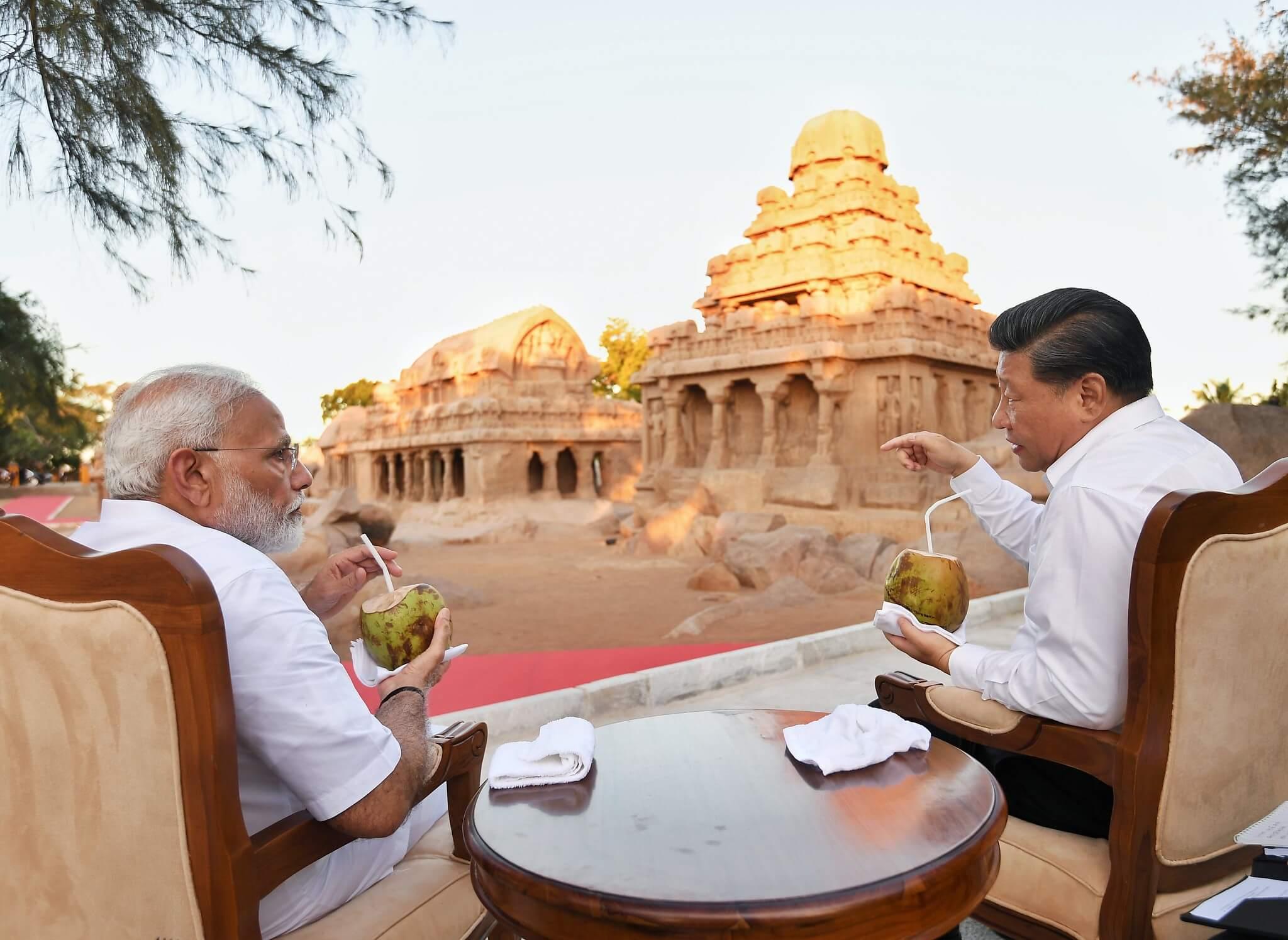 Le Premier ministre Narendra Modi et Xi Jinping, président de la Chine lors du sommet informel de Chennai à Mamallapuram (photo d'octobre 2019, via les photos publiques)