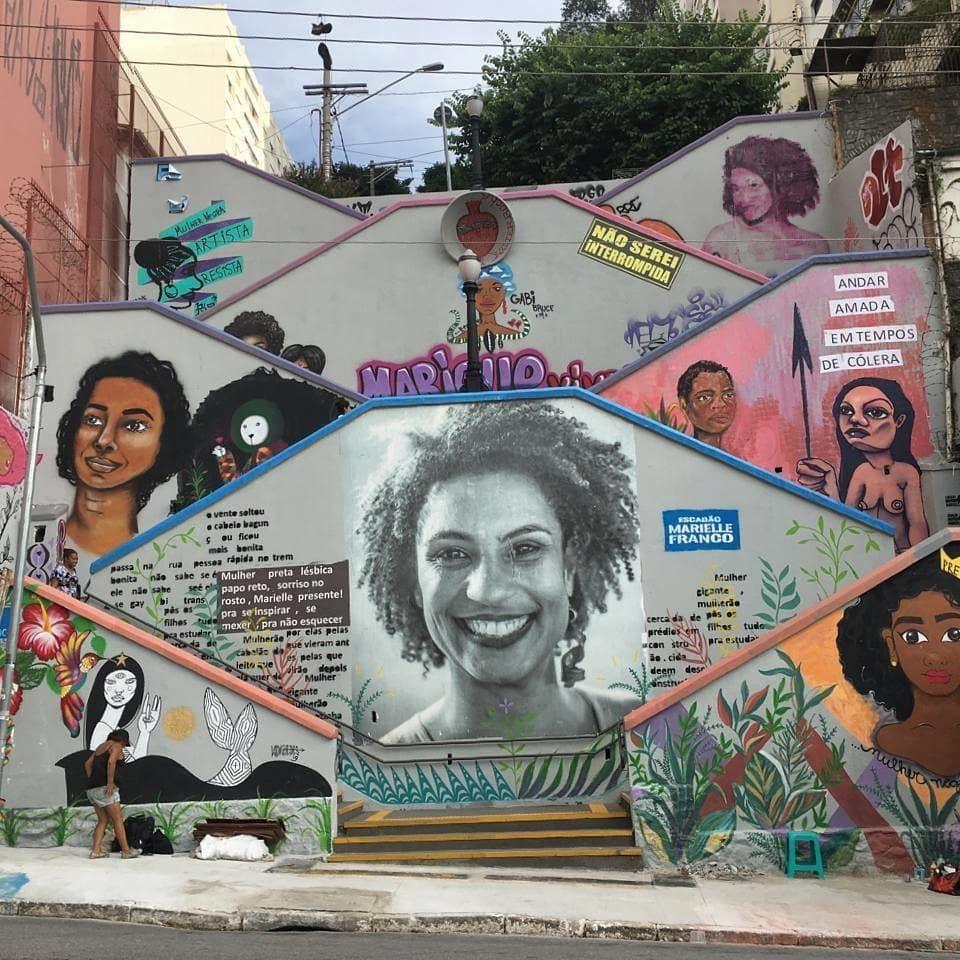 Escalier en l'honneur de Marielle Franco.