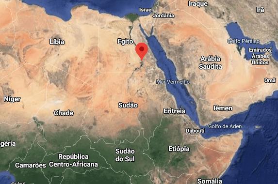 Localisation sur la carte des trois pays mentionnés (Ethiopie, Soudan et Egypte). En rouge sur la carte l'emplacement du Nil en Egypte. (Via: Google Maps)