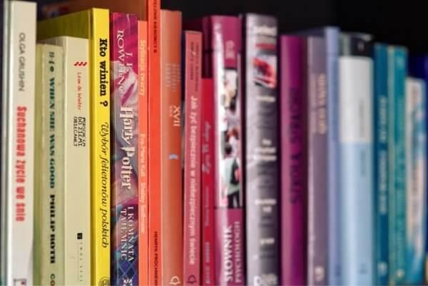 Livres alignés. Photo: Chasse visuelle