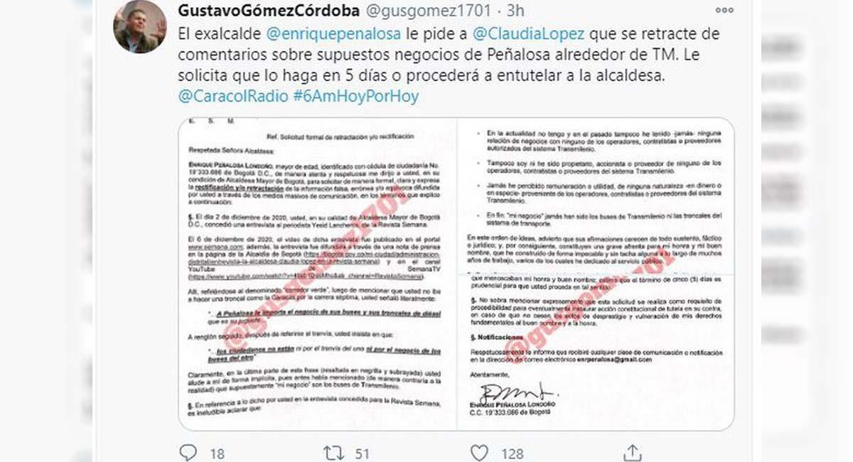 Lettre avec laquelle Enrique Peñalosa a demandé la rétractation de Claudia López.  Photo: Twitter / @ guzgomez1701