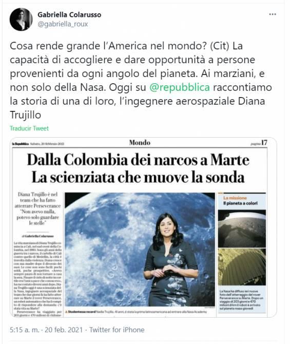 Titre italien sur Diana Trujillo