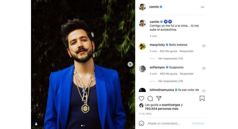 Capture d'écran.  Photo: Instagram @camilo.