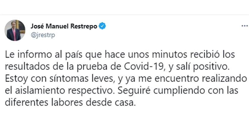 Message Twitter du ministre des Finances communiquant son résultat positif pour COVID-19.  Photo : Twitter @jrestrp