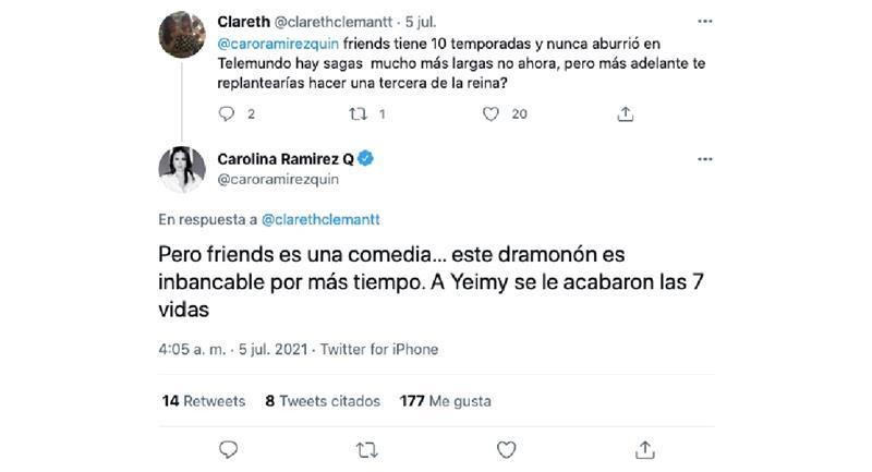 Capture d'écran.  Photo : Twitter @caroramirezquin.