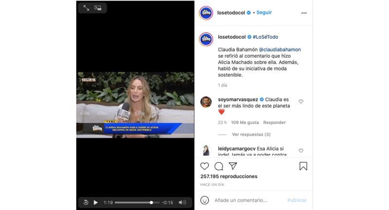 Capture d'écran.  Photo : Instagram @losetodocol.