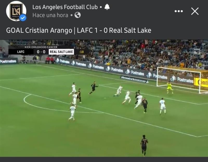 But d'Arango avec Los Ángeles FC (capture d'écran).  Photo : Facebook Club de football de Los Angeles