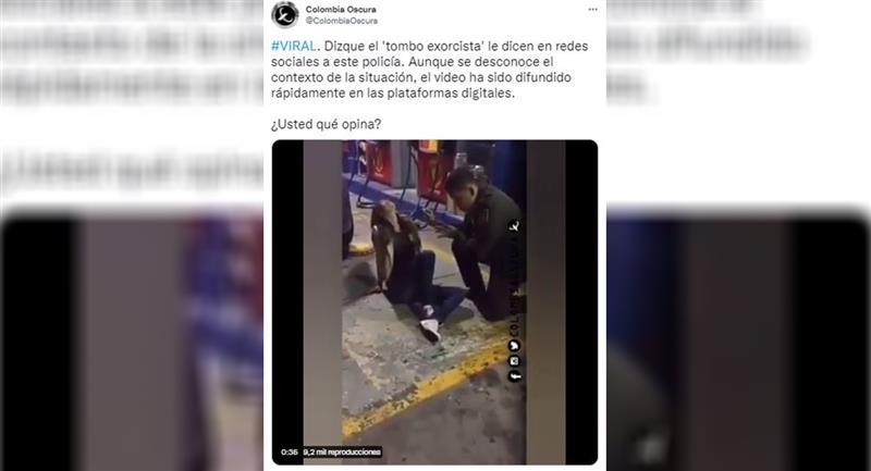 Ici vous pouvez voir la vidéo de l'exorcisme présumé.  Photo : Twitter @ColombiaOscura