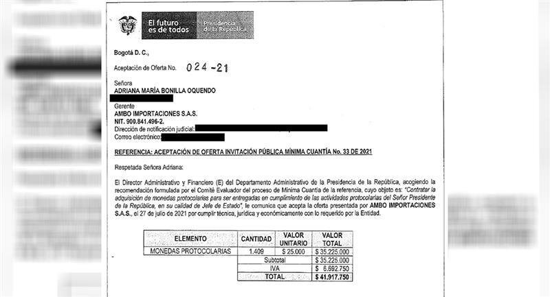 Les pièces du protocole coûteraient plus de 40 millions de pesos.  Photo : Twitter @JuanPoe