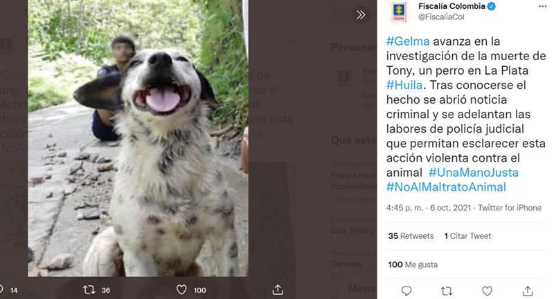 C'est ainsi que le parquet colombien a annoncé les faits.  Photo : Twitter @FiscaliaCol